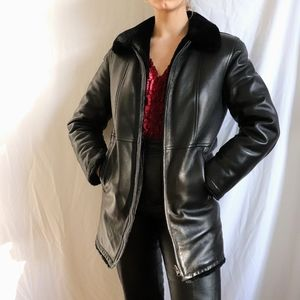 Black faux leather jacket faux fur collar sleeves